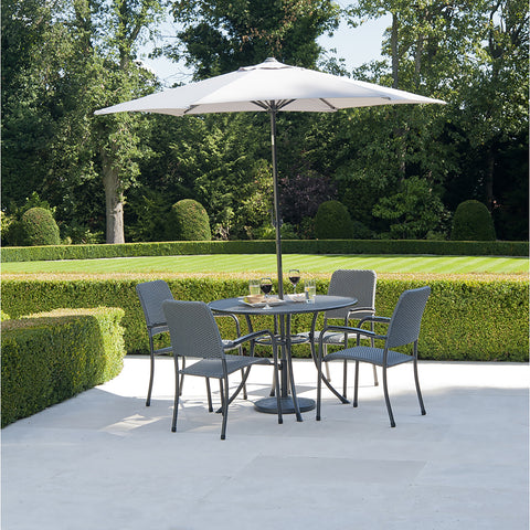 Alexander Rose Portofino 4 Seater Woven Armchair Round Set With FREE Grey Parasol and Base