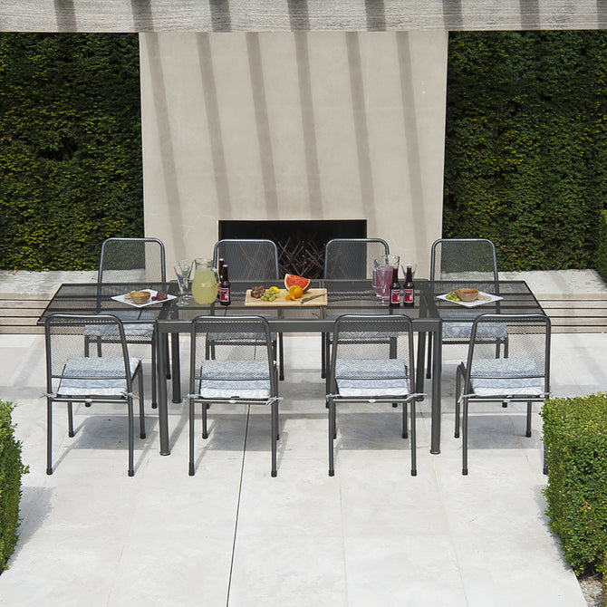 Alexander Rose Portofino 8 Seater Metal Garden Furniture Set with Extending Rectangular Table & Side Chairs