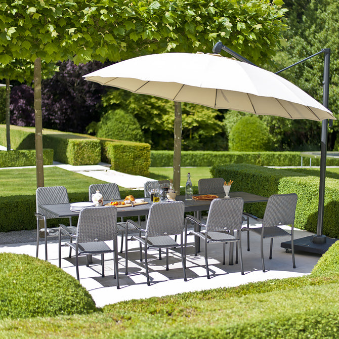 Alexander Rose Portofino 8 Seater Metal Garden Furniture Set with Extending Rectangular Table & Woven Armchairs