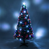 Green Fibre Optic Christmas Tree with White LED Xmas Lights
