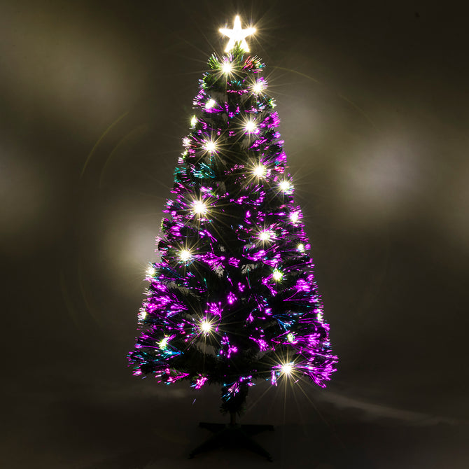 Green Fibre Optic Christmas Tree with Warm White LED Xmas Lights - 2ft, 3ft, 4ft, 5ft, 6ft