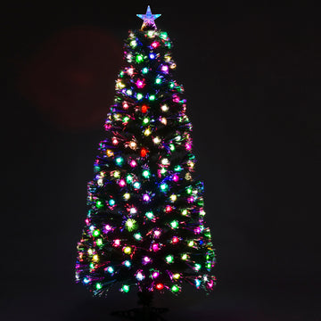 Fibre Optic Green Christmas Tree with Multicoloured LED Lights and Cones - 2ft, 3ft, 4ft, 5ft, 6ft