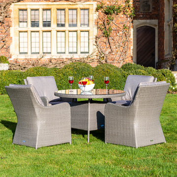 Bracken Outdoors Georgia 4 Seat Round Rattan Garden Furniture Set 1.1m