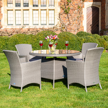 Bracken Outdoors Indiana 4 Seat Round Rattan Garden Furniture Set 1.1m