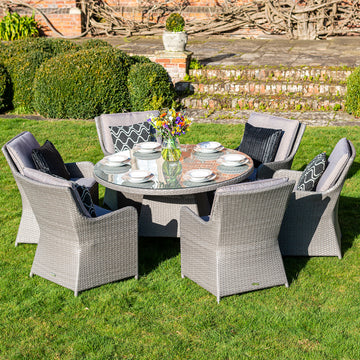 Bracken Outdoors Georgia 6 Seat Round Rattan Garden Furniture Set 1.35m