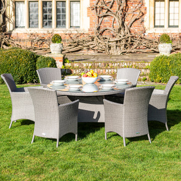Bracken Outdoors Indiana 6 Seat Round Rattan Garden Furniture Set 1.35m
