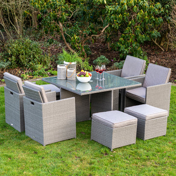 Bracken Outdoors Dakota 4 Seater Rattan Cube Set with Stools