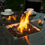 Bracken Outdoors Georgia 8 Seat Round Rattan Garden Furniture Gas Fire Pit Set 1.8m