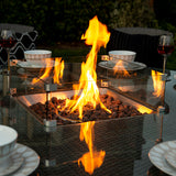 Bracken Outdoors Washington 6 Seat Round Rattan Garden Furniture Gas Fire Pit Set 1.35m