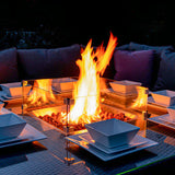 Bracken Outdoors Dakota Square Corner Casual Dining Gas Fire Pit Garden Furniture Set