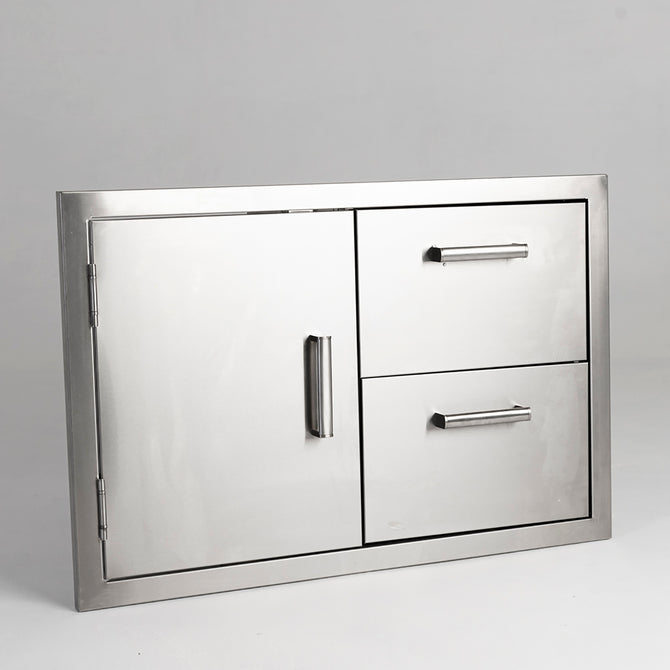 Draco Grills Stainless Steel Build-in Outdoor Kitchen Dual Drawer and Single Door Unit