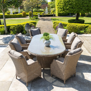 Robert Charles Boston 8 Seat Outdoor Weave Oval Garden Furniture Dining Set