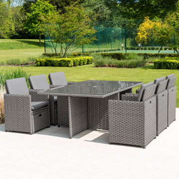 Bracken Outdoors Dakota Grand 6 - 10 Seater Garden Rattan Cube Set -Grey