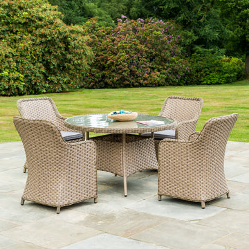 Bracken Outdoors Bewley 4 Seater Weave Armchair Round Set - Beige