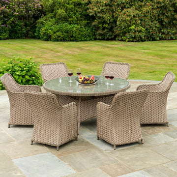 Bracken Outdoors Windsor 6 Seater Weave Armchair Oval Set - Beige