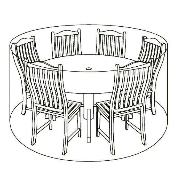 LG Outdoor 6 Seat Round Garden Furniture Set Deluxe Cover