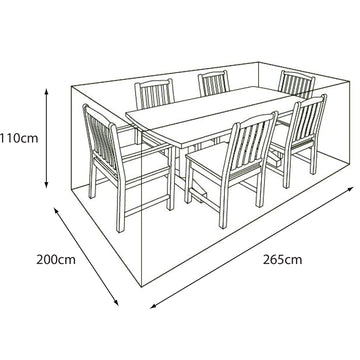 LeisureGrow 6 Seat Rectangular Garden Furniture Set Deluxe Cover