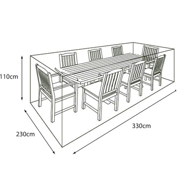 LG Outdoor 8 Seat Rectangular Garden Furniture Set Deluxe Cover
