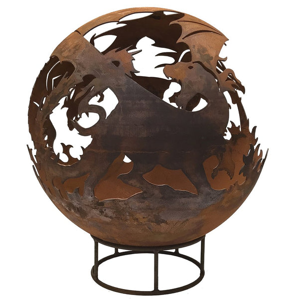 Garden Fire Ball 90cm Dragon Design with Rust Finish