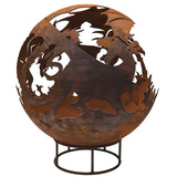 Garden Fire Ball 70cm Dragon Design with Rust Finish