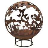 Garden Fire Ball 90cm Fairy Design with Rust Finish