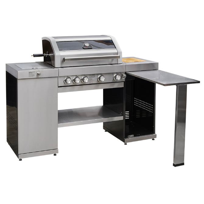 Grillstream Gourmet 4 Burner Island Hybrid Gas and Charcoal Barbecue - Stainless Steel