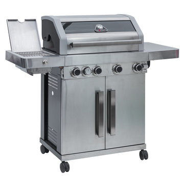 Grillstream Gourmet 4 Burner Roaster Gas Barbecue with Deluxe Cabinet and Steak Shelf Side Burner  - Stainless Steel