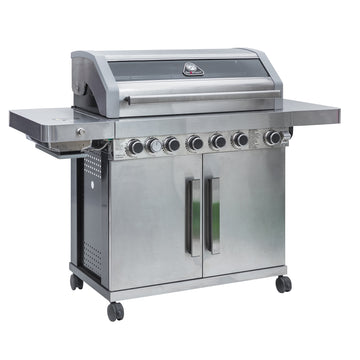 Grillstream Gourmet 6 Burner Roaster Gas Barbecue with Deluxe Cabinet and Steak Shelf Side Burner - Stainless Steel plus FREE COVER!