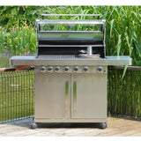 Grillstream Gourmet 6 Burner Roaster Gas Barbecue with Deluxe Cabinet and Steak Shelf Side Burner - Stainless Steel