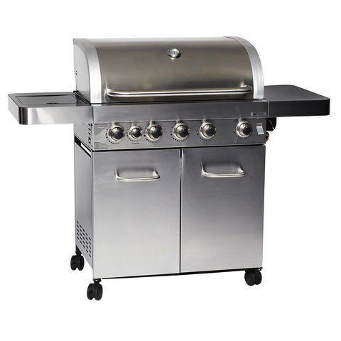 Grillstream Gourmet 5 Burner Roaster Gas Barbecue with Deluxe Cabinet and Side Burner - Stainless Steel
