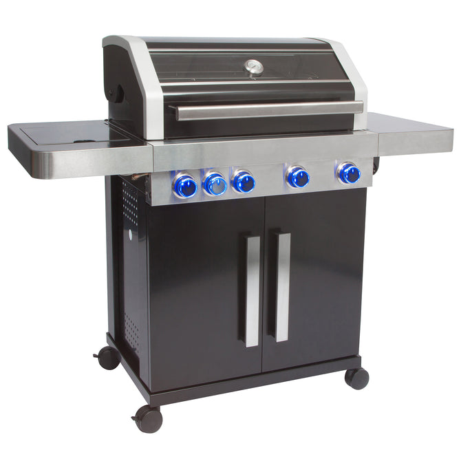 Grillstream Gourmet 4 Burner Roaster Gas Barbecue with Cabinet and Side Burner - Black
