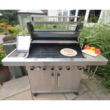 Grillstream Gourmet 6 Burner Hybrid Gas and Charcoal Barbecue - Stainless Steel