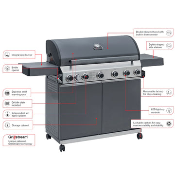 Grillstream Classic 6 Burner Gas Barbecue - Matt Grey plus FREE COVER!