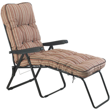Bracken Outdoors Deluxe Marbella Stripe Lounger Garden Chair