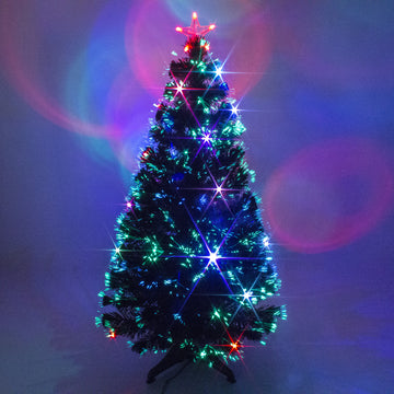 Black Fibre Optic Christmas Tree with Multicoloured LED Lights - 2ft, 3ft, 4ft, 5ft, 6ft