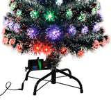 2ft Pine Green White-Tipped Multicoloured LED Fibre Optic Christmas Tree by Noma