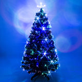 Black Fibre Optic Christmas Tree with Multicoloured LED Lights - 2ft, 3ft, 4ft