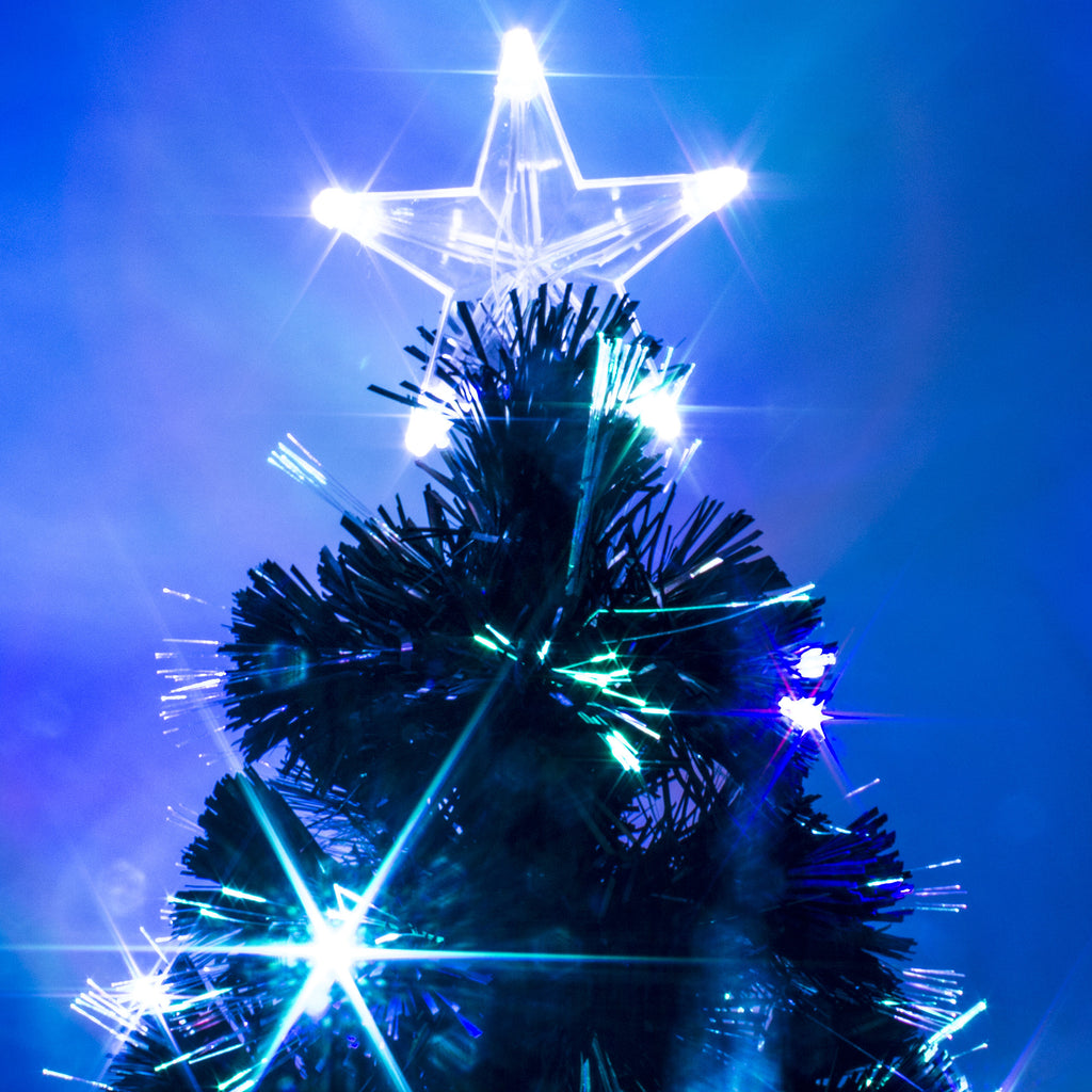 Black Fibre Optic Christmas Tree with Coloured LEDs ...