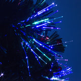 Green Fibre Optic Christmas Tree with Red Berries and Multi Coloured Fibre Optic Lights - 2ft, 3ft, 4ft, 5ft, 6ft