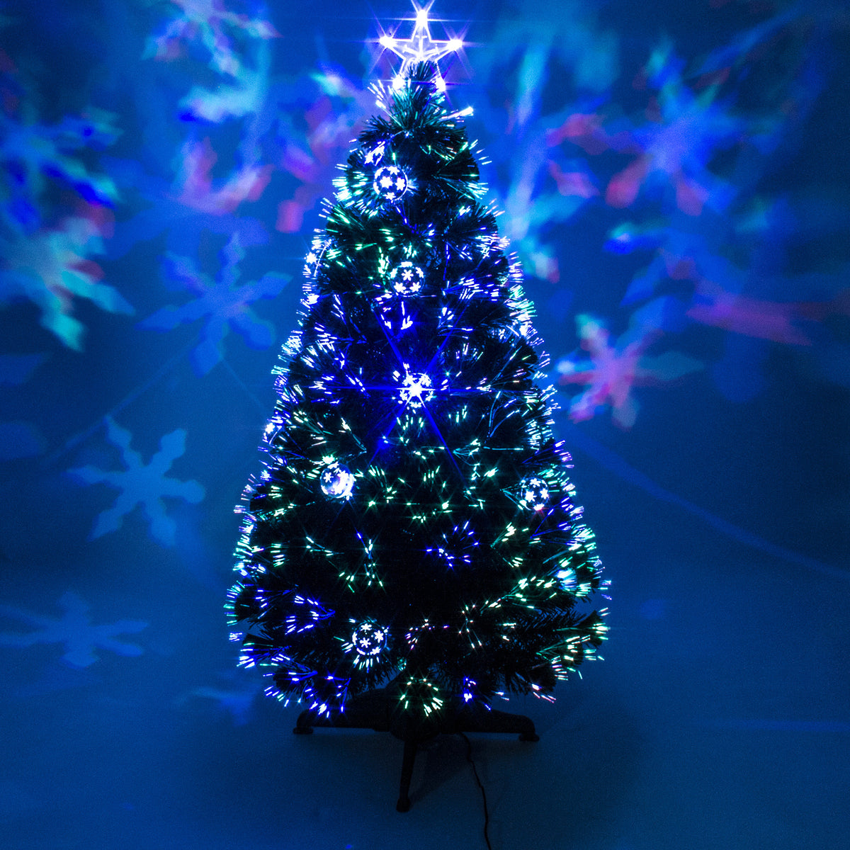 Fiberoptic Christmas Tree.Green Fibre Optic Christmas Tree With Baubles And Multicoloured Led Lights 2ft 3ft 4ft 5ft 6ft