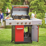 Outback Jupiter 4 Burner Gas BBQ with Side Burner – Red