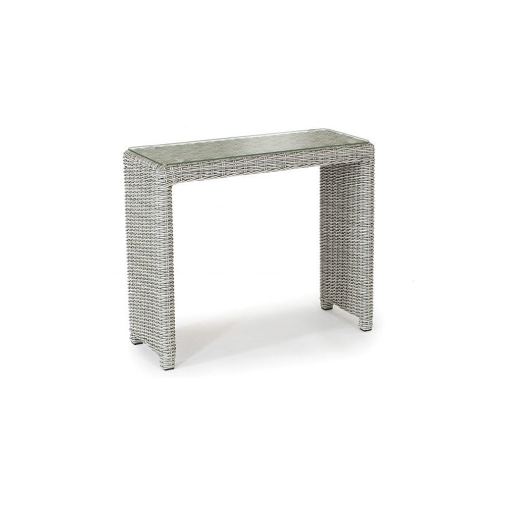 Kettler Palma White Wash Rattan Casual Dining Glass Top Side Table Garden Trends
