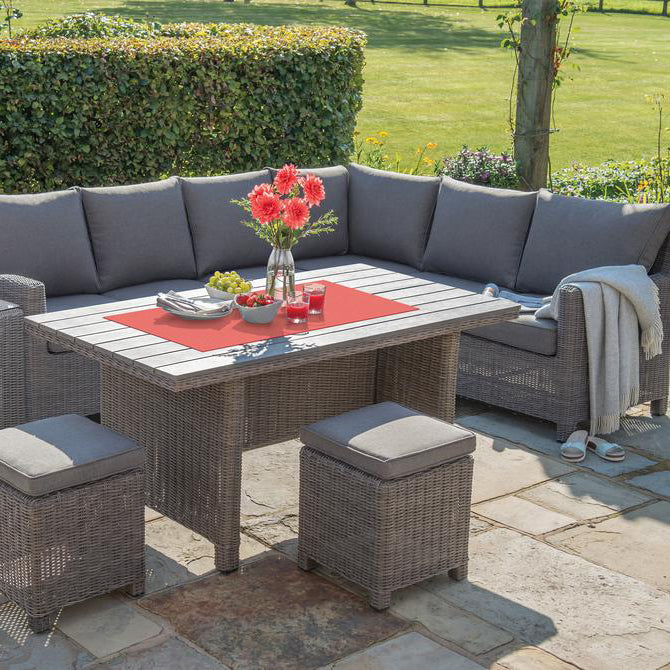Kettler Palma Corner Left Hand Rattan Outdoor Sofa Set with Slatted Table