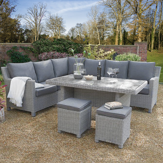 Kettler Palma Corner Right Hand White Wash Wicker Outdoor Sofa Set with Glass Top Table