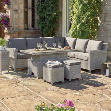 Kettler Palma Corner Left Hand White Wash Wicker Outdoor Sofa Set with Adjustable S-Q Table