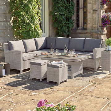 Kettler Palma Corner Right Hand White Wash Wicker Outdoor Sofa Set with Coffee Table