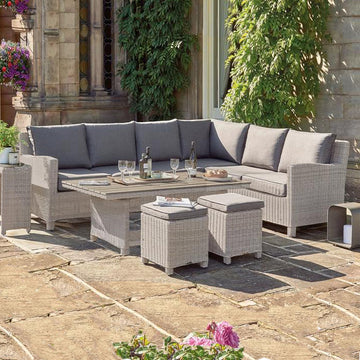 Kettler Palma Corner Left Hand White Wash Wicker Outdoor Sofa Set with Coffee Table