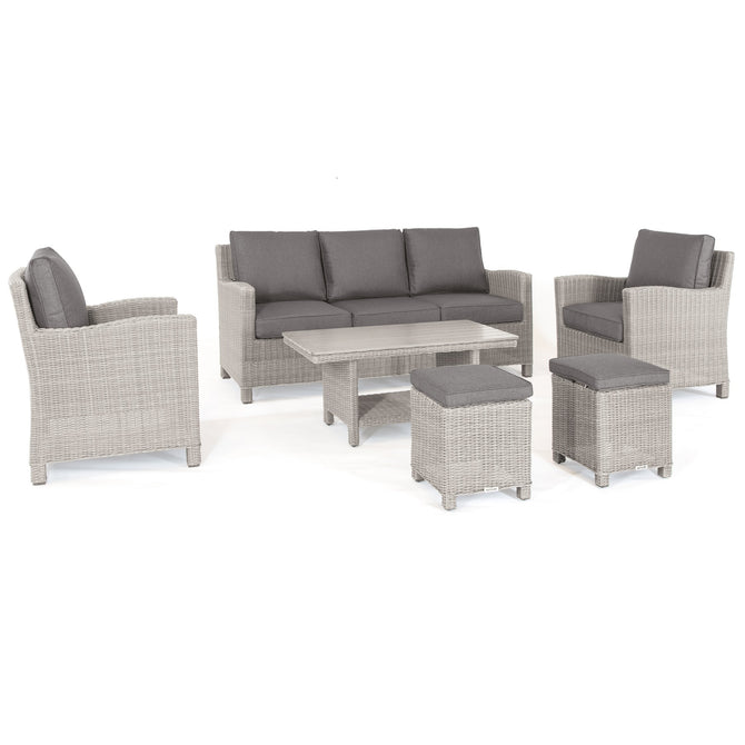 Kettler Palma White Wash Wicker Outdoor Casual Dining Lounge Sofa Set with Coffee Table
