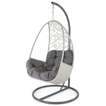 Kettler Palma White Wash Wicker Single Hanging Cocoon Chair with Cushion