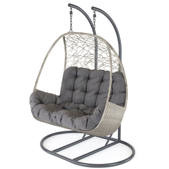 Kettler Palma White Wash Wicker Double Hanging Cocoon Chair with Cushion